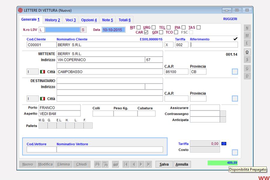 Modulo Prepagato Eurosoftware spedizioni pagamento anticipato
