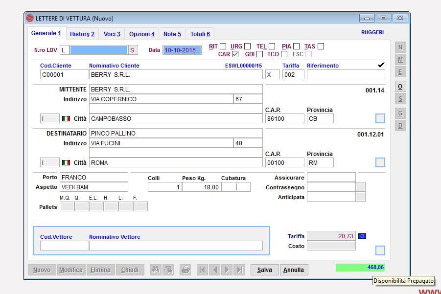 spedizioni pagamento anticipato Courier Eurosoftware