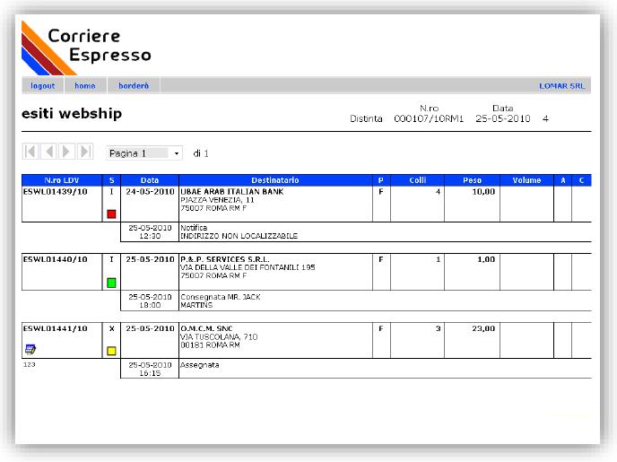 Esiti di consegna subito disponibili con WEB CARRIER di Eurosoftware