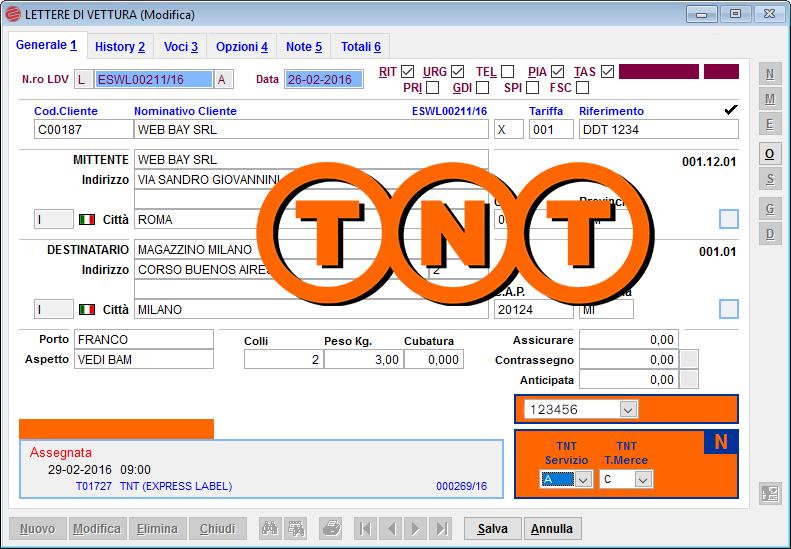Con courier è possibile effettuare l'autoproduzione delle lettere di vettura TNT